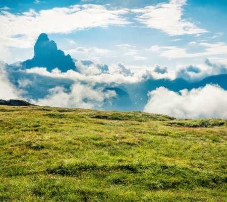 Foggy summer view of Three peaks of Lavaredo mountain range. Sunny morning scene of Dolomite Alps, Italy, Europe. Beauty of nature concept background. Orton Effect. Zdjęcie Seryjne
