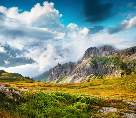 Beautiful summer scene of National Park Tre Cime De Lavaredo. Great morning view of Dolomite Alps, South Tyrol, Auronzo location, Italy, Europe. Beauty of nature concept background. 스톡 콘텐츠