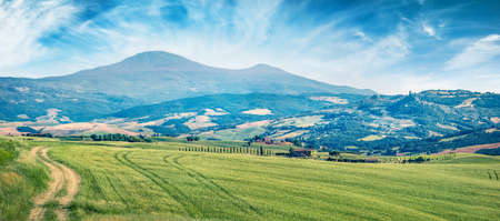Wonderful Tuscanian view with field of wheat. Colorful summer scene of Italian countryside. Traveling concept background, Italy, Europe.