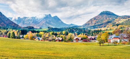 Sunny autumn panorama of Brauhof village. Amazing morning scene of  Austrian Alps, Styria stare of Austria, Europe. Beauty of countryside concept background. Orton Effect.