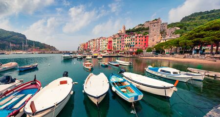 Wonderful morning view of Portovenere town. Magnificent spring seascape of Mediterranean sea,  Liguria, province of La Spezia, Italy, Europe. Traveling concept background. Фото со стока