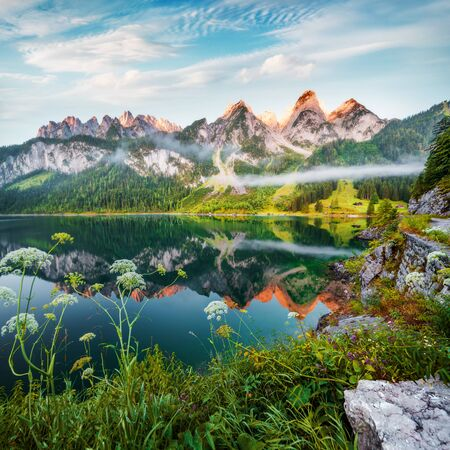 Dreamy summer view of Grosser Donnerkogel mountain range, Austria, Europe. Colorful morning scene of Vorderer (Gosausee) lake in Austrian Alps. Beauty of nature concept background.