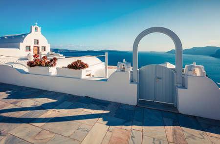 Marvelous morning view of Santorini island. Romantic spring scene of the famous Greek resort Thira, Greece, Europe. Traveling concept background. Orton Effect. Zdjęcie Seryjne