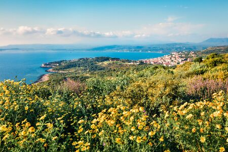 Aerial morning view of Pilos town. Colorful spring scene of the Ionian Sea. Beautiful countryside panorama of Greece. Traveling concept background. Artistic style post processed photo.