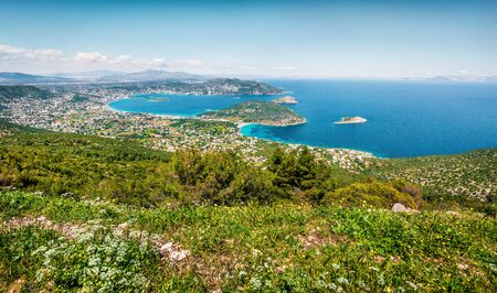 Aerial view of Porto Rafti town. Bright spring seascape of Aegean sea. Sunny morning panorama of the Greece, Europe. Beauty of nature concept background. Stock fotó