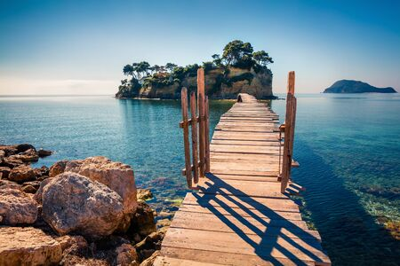 Bright spring view of the Cameo Island. Picturesque morning scene on the Port Sostis, Zakinthos island, Greece, Europe. Beauty of nature concept background. Stock fotó