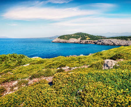 Colorful spring view of Voidokilia beach. Bright morning scene of the Ionian Sea, Pilos town location, Greece, Europe. Beauty of nature concept background. Artistic style post processed photo.