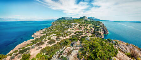 From the bird's eye view of West Court of Heraion of Perachora, Limni Vouliagmenis location. Bright morning seascape of Aegean sea, Greece, Europe. Traveling concept background.