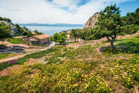 Colorful spring view of Agios Ioannis Church. Splendid morning scene of West Court of Heraion of Perachora, Limni Vouliagmenis location, Greece, Europe. Traveling concept background. Zdjęcie Seryjne