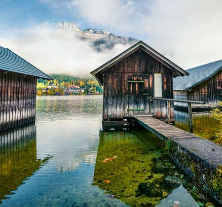 Great autumn scene of Altausseer See lake. Beautiful morning view of Altaussee village, district of Liezen in Styria, Austria.