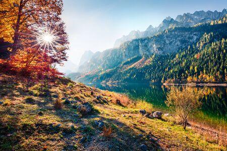 Escena de otoño fabulosa del lago Vorderer (Gosausee). Cautivante vista de la mañana de los Alpes austríacos, Alta Austria, Europa. Belleza del fondo del concepto de naturaleza.