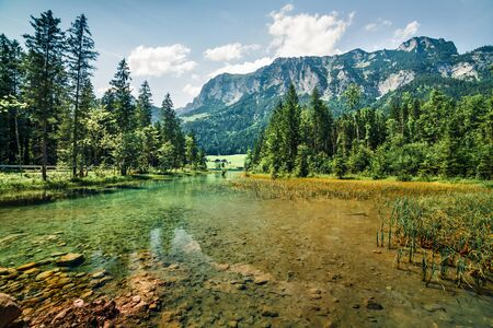 Bright summer scene of Hintersee lake. Picturesque morning view of Bavarian Alps on the Austrian border, Germany, Europe. Beauty of nature concept background.