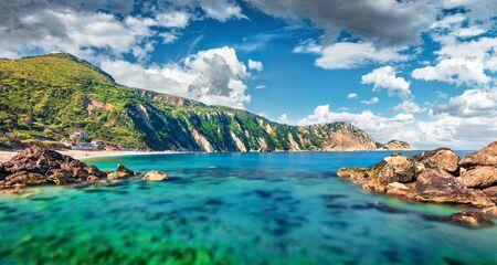 Panoramic spring view of Petani Beach. Splendid morning scene of Cephalonia Island, Greece, Europe. Exciting seascape of Mediterranen Sea. Stunning outdoor scene of Ionian Islands.