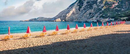 Panoramic spring view of Petani Beach. Colorful morning scene of Cephalonia Island, Greece, Europe. Beautiful seascape of Mediterranen Sea. Picturesque outdoor scene of Ionian Islands.