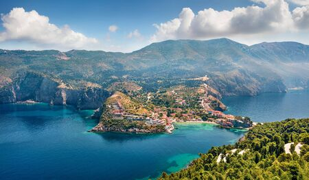 Aerial view of the Asos village from the Venetian Castle Ruins. Awesome spring seascape of Ionian Sea. Stunning outdoor scene of Kefalonia island, Greece, Europe.