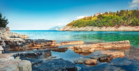 Bright spring day on the Emblisi beach. Panoramic view of Kefalovia island, Greece, Europe. Colorful morniung seascape of Ionian Sea. Traveling concept background.
