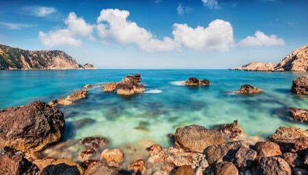 Bright spring view of Petani Beach. Splendid morning scene of Cephalonia Island, Greece, Europe. Amazing seascape of Mediterranen Sea. Stunning outdoor scene of Ionian Islands.