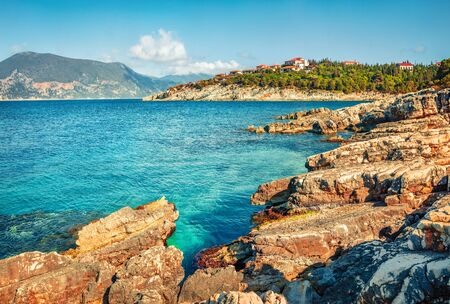 Bright spring day on the Emblisi beach. Colorful view of Kefalovia island, Greece, Europe. Nice morniung seascape of Ionian Sea. Traveling concept background.