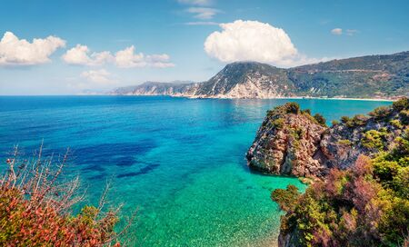 Stunning spring view of Agia eleni beach. Colorful morning seascape of Mediterranean Sea. Bright outdoor scene of Kefalonia island, Greece, Europe. Traveling on Ionian Islands. Stock Photo