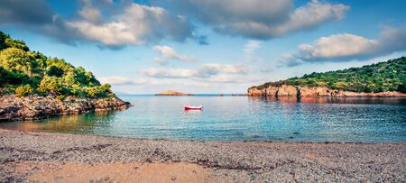 Sunny spring view of Ierussalim Beach. Picturesque morning seascape of Ionian sea. Panoramic outdoor scene of Kefalonia Island, Greece, Europe. Traveling concept background. Stock Photo
