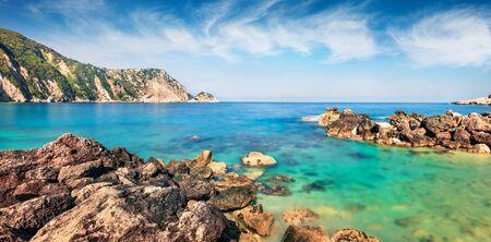 Scenic spring view of Petani Beach. Splendid morning scene of Cephalonia Island, Greece, Europe. Amazing seascape of Mediterranen Sea. Stunning outdoor scene of Ionian Islands.