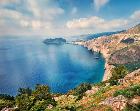 Aerial spring view of Asos peninsula and town. Romantic morning seascape of Ionian Sea. Exciting outdoor scene of Kephalonia island, Greece, Europe. Traveling concept background.