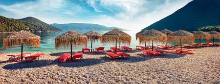 Panoramic morning view of Antisamos Beach. Sunny spring seascape of Ionian Sea. Splendid outdoor scene of Kefalonia island, Sami town location, Greece, Europe. Traveling concept background.