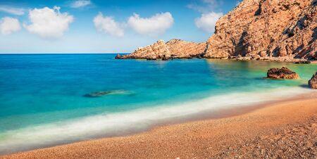 Panoramic spring view of Petani Beach. Captivating morning scene of Cephalonia Island, Greece, Europe. Amazing seascape of Mediterranen Sea. Stunning outdoor scene of Ionian Islands.