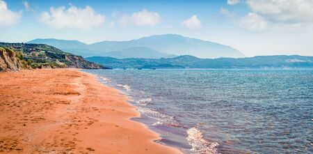 Panoramic spring view of Megas Lakkos Beach. Colorful morning scene of Cephalonia island, Greece, Europe. Amazing seascape of Ionian Sea. Traveling concept background.