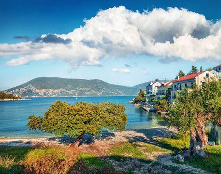Fantastic spring view of Zavalata Beach, Fiskardo village. Colorful morning seascape of Ionian Sea. Bright outdoor scene of Kefalonia island, Greece, Europe. Traveling concept background.