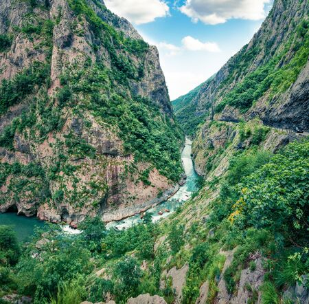 Aerial morning view of Tara river canyon. Splendid summer morning in Montenegro, Europe. Beautiful world of Mediterranean countries. Traveling concept background. 写真素材