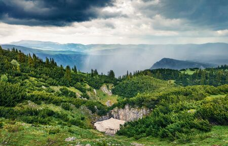 Gloomy summer view of Tara canyon. Green moring scene of Durmitor National Park, Montenegro, Europe. Beautiful world of Mediterranean countries. Traveling concept background.