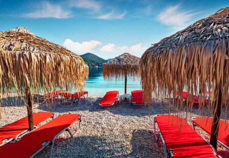 Attractive morning view of Antisamos Beach. Colorful spring seascape of Ionian Sea. Picturesque outdoor scene of Kefalonia island, Sami town location, Greece, Europe. Traveling concept background.