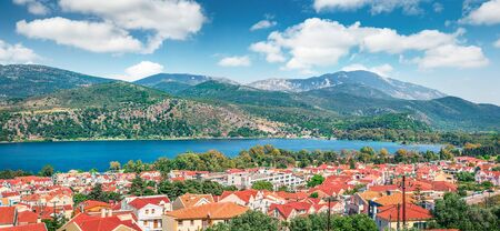 Splendid morning cityscape of Argostolion town, former municipality on the island of Kefalonia, Ionian Islands, Greece. Beautiful spring seascape of Ionian Sea. Traveling concept background.