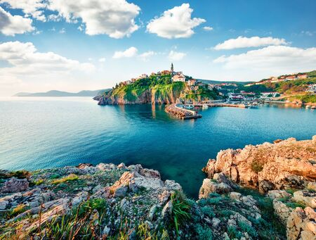 Exciting morning cityscape of Vrbnik town. Splendid summer seascape of Adriatic sea, Krk island, Kvarner bay archipelago, Croatia, Europe. Beautiful world of Mediterranean countries. Traveling concept background. Stockfoto - 136739016
