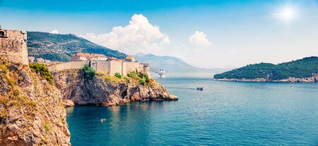 Panoramic morning view of famous Fort Bokar in city of Dubrovnik. Amazing summer seascape of Adriatic sea, Croatia, Europe. Beautiful world of Mediterranean countries. Traveling concept background.