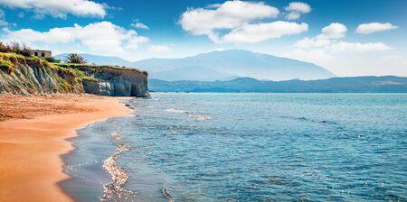 Bright spring view of Megas Lakkos Beach. Romantic morning scene of Cephalonia island, Greece, Europe. Amazing seascape of Ionian Sea. Traveling concept background.