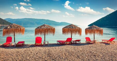 Panoramic morning view of Antisamos Beach. Captivating spring seascape of Ionian Sea. Romantic outdoor scene of Kefalonia island, Sami town location, Greece, Europe. Traveling concept background.