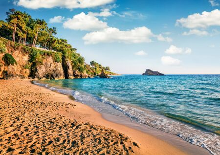 Colorful evening view of Platis Gialos Beach. Amazing spring seascape of Ionian Sea. Exciting outdoor scene of Kefalonia island, Argostolion town location, Greece, Europe. Traveling concept background.