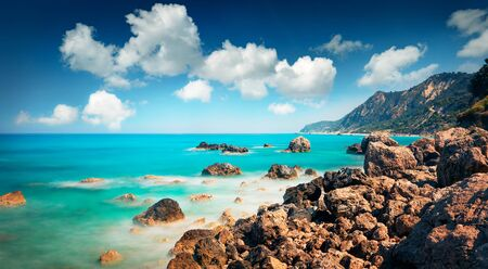 Panoramic spring view of Avali Beach. Exciting morning seascape of Ionian sea. Splendid outdoor scene of Lefkada Island, Greece, Europe. Beauty of nature concept background. Reklamní fotografie