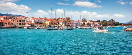Panoramic morning view of Lixouri port. Splendid spring seascape of Ionian Sea. Sunny outdoor scene of Kefalonia island. Traveling concept background. Traveling concept background.  Stock Photo