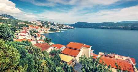 Amazing morning cityscape of Neum city. Colorful summer seascape of Adriatic sea, Bosnia and Herzegovina, Europe. Beautiful world of Mediterranean countries.Traveling concept background.