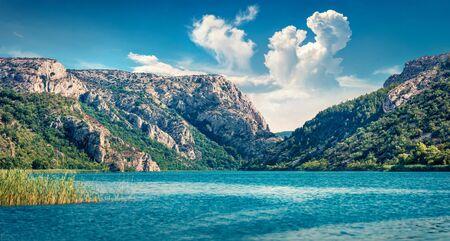 Panoramic summer view of Visovacko lake. Splendid morning scene of Krka National park, Roski Slap location, Croatia, Europe. Beautiful world of Mediterranean countries. Traveling concept background. Stockfoto