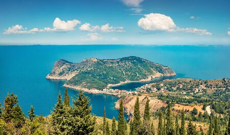 Aerial view of the Asos town from the Venetian Castle Ruins. Sunny spring seascape of Ionian Sea. Picturesque outdoor scene of Kefalonia island, Greece, Europe.