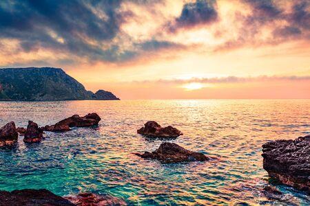 Unbelievable spring view of Petani Beach. Stunning sunset scene of Cephalonia Island, Greece, Europe. Unbelievable seascape of Mediterranen Sea. Mystical outdoor scene of Ionian Islands.