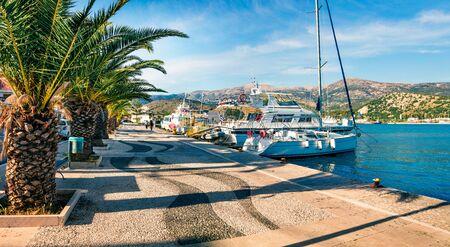 Splendid spring cityscape of Argostoli port. Wonderful morning scene of Kefalonia island, Greece, Europe. Beautiful seascape of Ionian Sea. Traveling concept background.