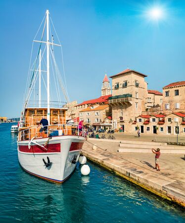 Solendid summer cityscape of Trogir town. Sunny morning seascape of Adriatic sea. Beautiful world of Mediterranean countries. Traveling concept background.