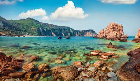 Fantastic spring view of Petani Beach. Stunning morning scene of Cephalonia Island, Greece, Europe. Amazing seascape of Mediterranen Sea. Stunning outdoor scene of Ionian Islands. Stock Photo