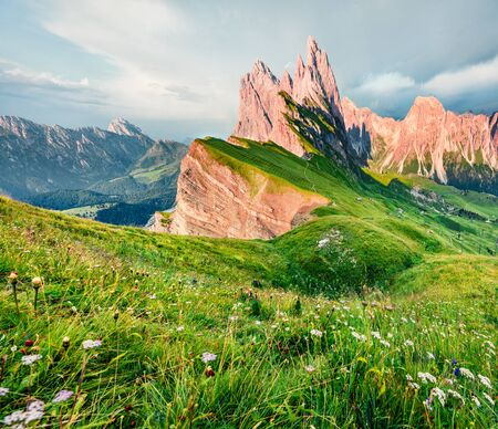 Attractive morning view of Furchetta peak. Picturesque summer scene of Funes Valley. Great sunset in Puez Odle National Park, Dolomiti Alps, Province of Bolzano, South Tyrol, Italy, Europe.
