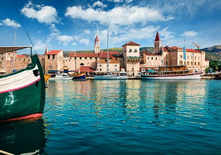 Stunning summer cityscape of Trogir town. Colorful morning seascape of Adriatic sea. Beautiful world of Mediterranean countries. Traveling concept background.